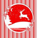 Karte des guten Rutsch ins Neue Jahr und der frohen Weihnachten mit einem Rotwild im Winterwald, Plakat, Einladung, Flieger Auch  stock abbildung