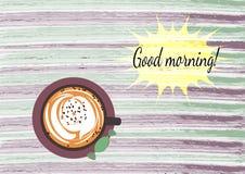 Karte des gutenmorgens mit Kaffee auf dem Aquarellbeschaffenheitshintergrund Lizenzfreie Stockbilder