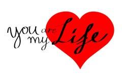Karte des Herzens, sind Sie mein Leben Stockfotos