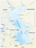 Karte des Kaspischen Meers stock abbildung