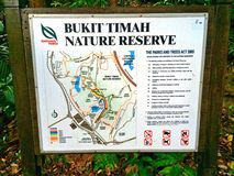 Karte des Naturreservats Bukit Timah in Singapur Lizenzfreies Stockfoto