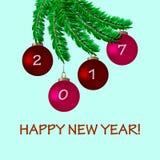 Karte des neuen Jahres mit Baum und Bällen Stockbilder