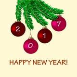 Karte des neuen Jahres mit Baum und Bällen Lizenzfreies Stockbild