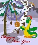 Karte des neuen Jahres mit Bild des Drachen im Holz Lizenzfreie Stockbilder