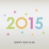 Karte des neuen Jahres mit buntem gestreiftem Muster Stockfotos
