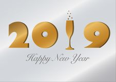 Karte des neuen Jahres 2019 mit einem Champagnerglas stock abbildung