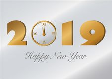 Karte des neuen Jahres 2019 mit einer Uhr stock abbildung