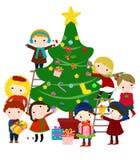 Karte des neuen Jahres mit Kindern Lizenzfreie Stockfotos