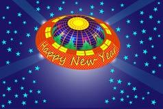 Karte des neuen Jahres mit nicht identifiziertem Gegenstand Stockbild