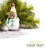 Karte des neuen Jahres mit schönem Schneemann Lizenzfreies Stockfoto