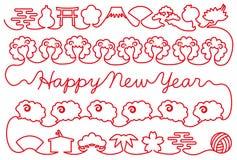 Karte des neuen Jahres mit Schafen und japanischen Ikonen Rotes Gewinde Stockfotos