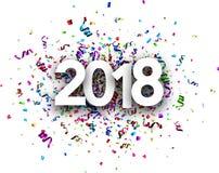 Karte des neuen Jahres 2018 mit Serpentin Lizenzfreie Stockfotografie