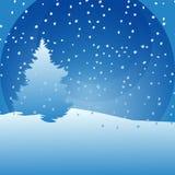 Karte des neuen Jahres mit Tannenbaum und Schnee auf blauem Hintergrund Vektorillustrationselement stock abbildung