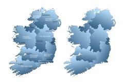 Karte des vollständigen Irlands mit Regionen Lizenzfreie Stockfotos