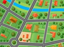 Karte des Vorortbezirkes Stockbild