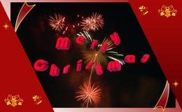 Karte des Weihnachtsfeuerwerks 3d Lizenzfreies Stockfoto