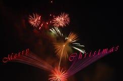 Karte des Weihnachtsfeuerwerks 3d Stockfoto