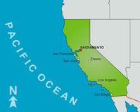 Karte des Zustandes von Kalifornien stockbilder