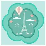 Karte, die mit Eiffelturm desing ist lizenzfreie stockfotos
