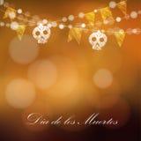 Karte Durchmessers de Los Muertos (Tag der Toten) oder Halloweens, Einladung Stockfoto
