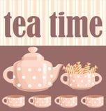 Karte. Ein trinkendes Thema des Tees. Lizenzfreies Stockfoto
