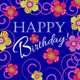 Karte für die Einladung und die Glückwünsche Geburtstag Verziert mit Blumen Lizenzfreie Stockfotos
