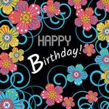 Karte für die Einladung und die Glückwünsche Geburtstag Verziert mit Blumen Lizenzfreies Stockbild