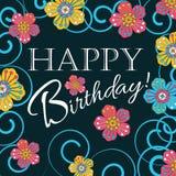 Karte für die Einladung und die Glückwünsche Geburtstag Verziert mit Blumen Lizenzfreie Stockfotografie
