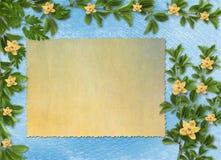 Karte für Einladung mit Orchideen und den Zweigen Stockfotos