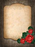 Karte für Einladung oder Glückwunsch mit roten Rosen Lizenzfreie Stockfotografie