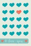 Karte für Feier von StValentine-` s Tag mit Herzen und dem Greating lizenzfreie abbildung