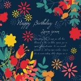 Karte für Glückwunsch oder Einladung Alles Gute zum Geburtstag Verziert mit Blumen Lizenzfreie Stockfotos