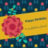 Karte für Glückwunsch oder Einladung Alles Gute zum Geburtstag Verziert mit Blumen Stockbilder