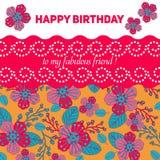 Karte für Glückwunsch oder Einladung Alles Gute zum Geburtstag Verziert mit Blumen Lizenzfreie Stockbilder