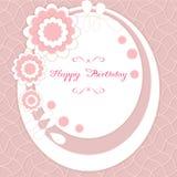 Karte für Glückwunsch oder Einladung Alles Gute zum Geburtstag Verziert mit Blumen Stockbild