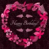 Karte für Glückwunsch oder Einladung Alles Gute zum Geburtstag Verziert mit Blumen Lizenzfreies Stockfoto