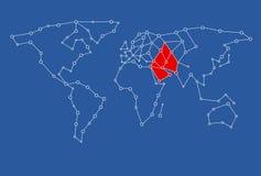 Karte für Grafikdesigngebrauch mit dem Mittleren Osten gefärbt im Rot Stockfotografie