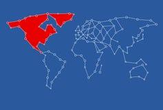 Karte für Grafikdesigngebrauch mit dem USA/Amerika und dem Kanada gefärbt im Rot Stockfoto