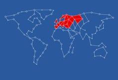 Karte für Grafikdesigngebrauch mit Europa färbte im Rot Stockfotografie