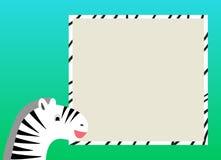 Karte für Kinder mit Zebra Lizenzfreie Stockfotografie