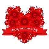 Karte für Mutter ` s Tag mit rotem Herzen Stockfoto