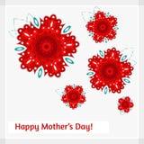 Karte für Mutter ` s Tag mit roten Blumen Stockfoto