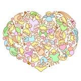 Karte für Valentine& x27; s-Tag Herz der Fliegenengel und -amoren lizenzfreie abbildung