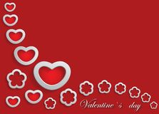 Karte für Valentinstag auf einem roten Hintergrund Stockfotos