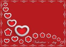 Karte für Valentinstag auf einem roten Hintergrund Lizenzfreies Stockbild