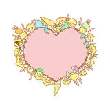 Karte für Valentinstag Fliegenengel und -amoren stock abbildung