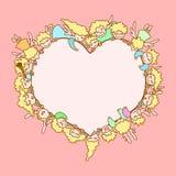 Karte für Valentinstag Fliegenengel und -amoren um Herz stock abbildung