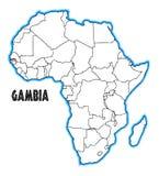 Karte Gambias Afrika vektor abbildung
