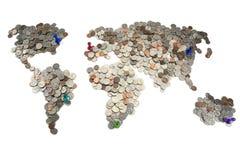 Karte gemacht von den Münzen Lizenzfreies Stockfoto
