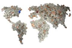 Karte gemacht von den Münzen Lizenzfreie Stockfotos